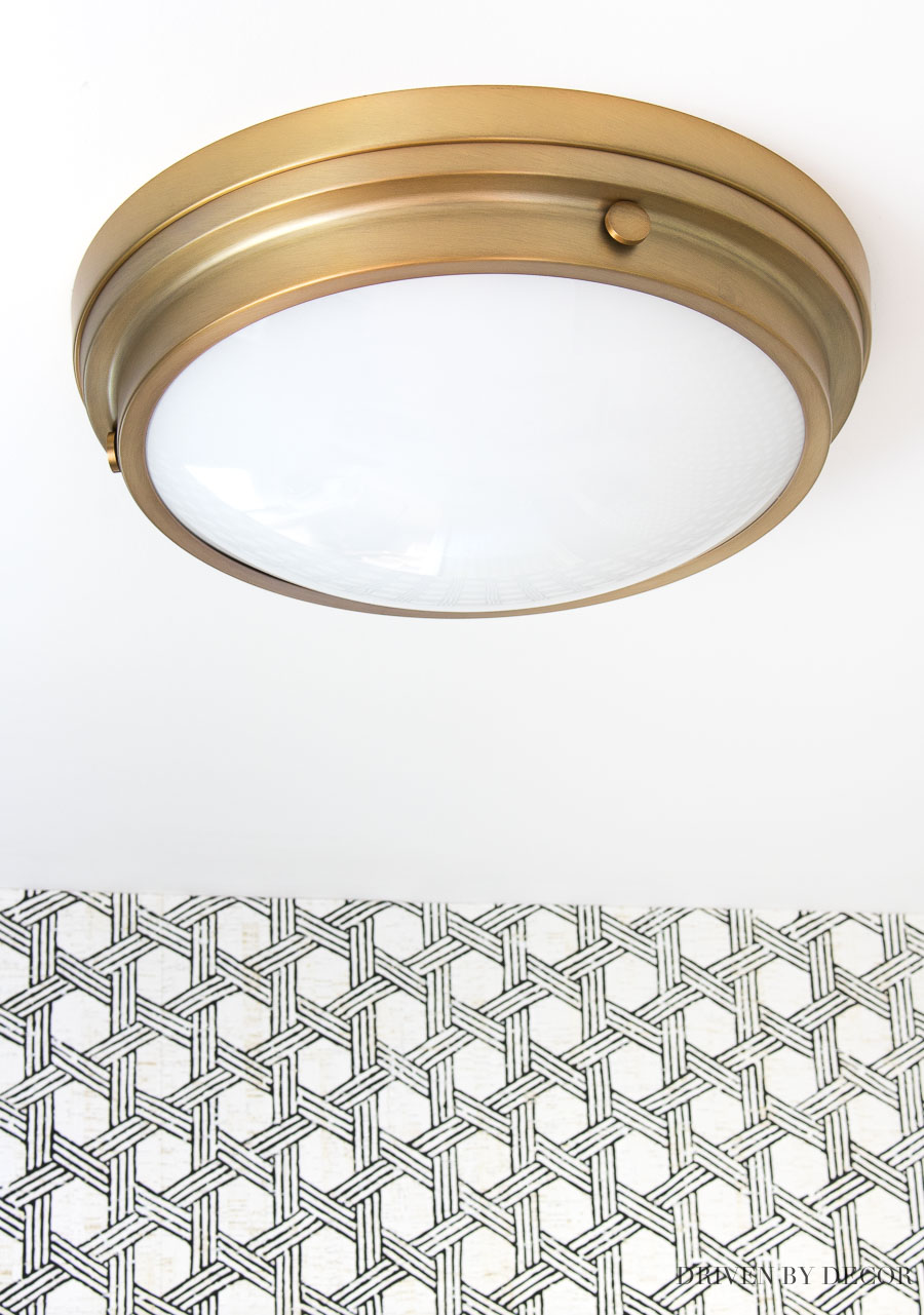 Love this simple and inexpensive brass flush mount lighting fixture linked in this post! The perfect ceiling light!