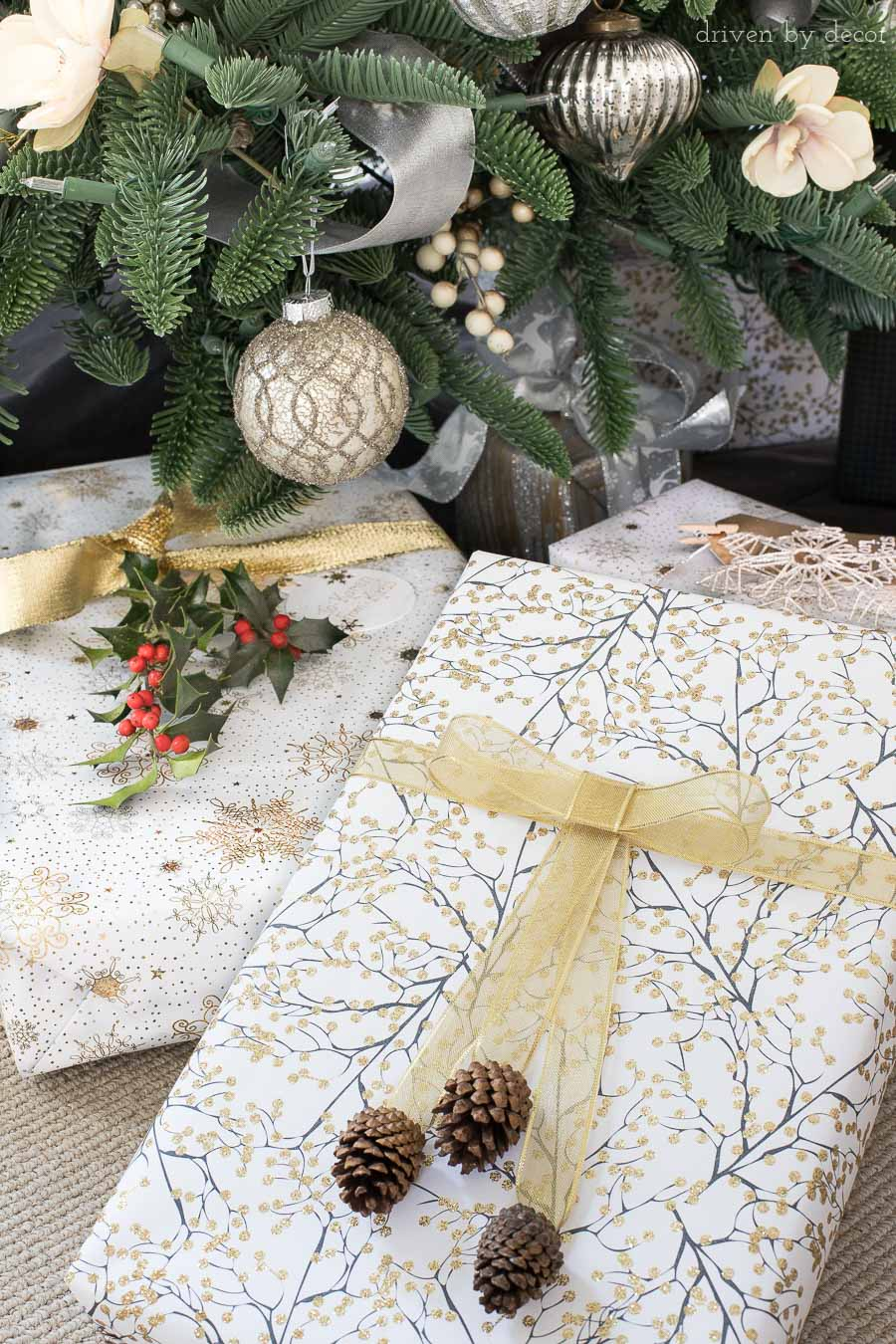 Love the idea of using pinecones or greenery from your yard to dress up Christmas presents! One of lots of great easy Christmas gift wrapping ideas in this post!