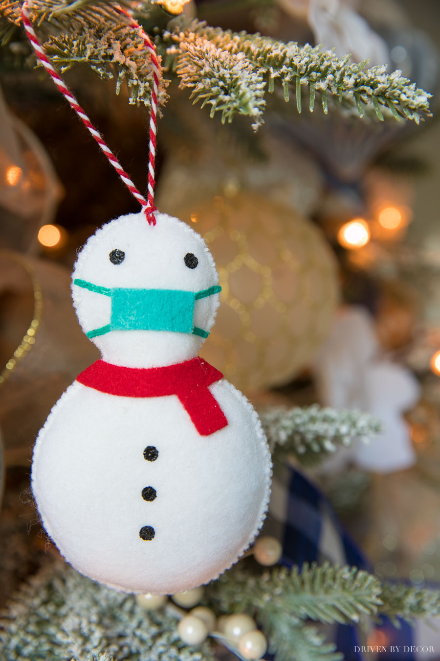 The cutest covid snowman Christmas ornament - perfect for 2020!
