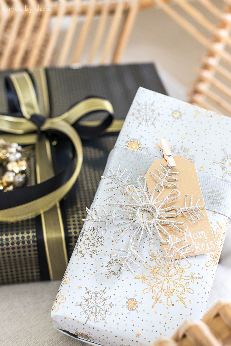 Love how this present's tag is clipped on with a mini clothespin! One of the many easy gift wrapping ideas I loved in this post!