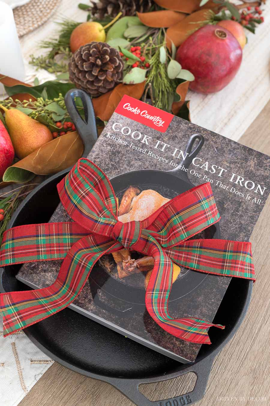 Cute gift idea for those who love to cook -  a cast iron skillet and highly rated cook book!