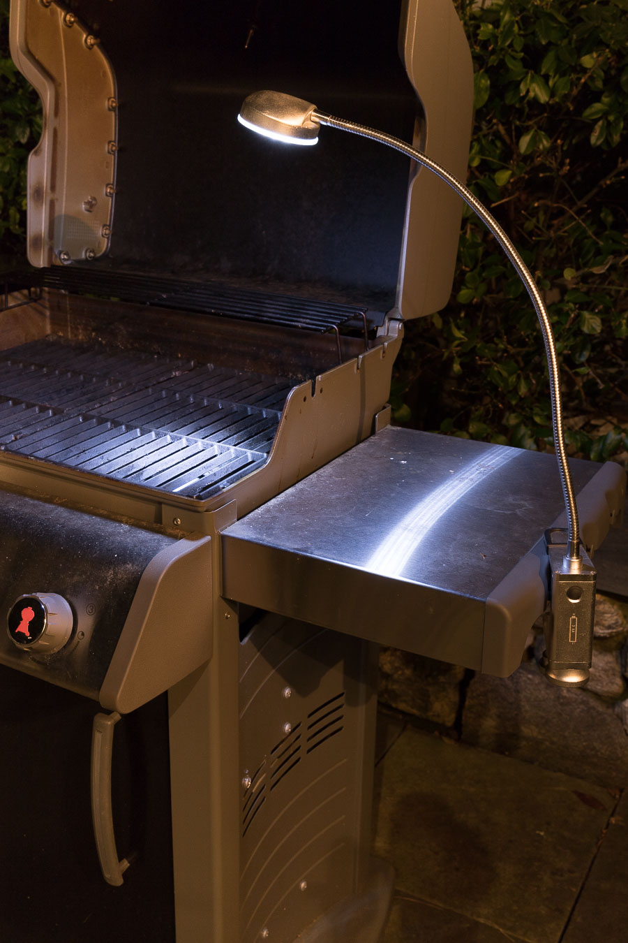 Grill light that clamps on to your grill for dark nights!