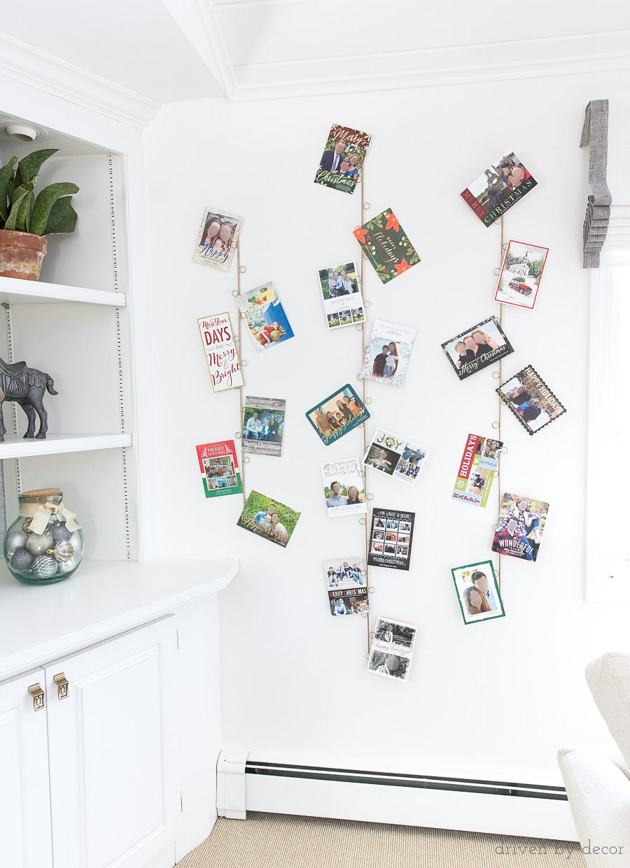Such a great way to hang and display your Christmas cards! Love that it's so easy to add cards as they arrive!