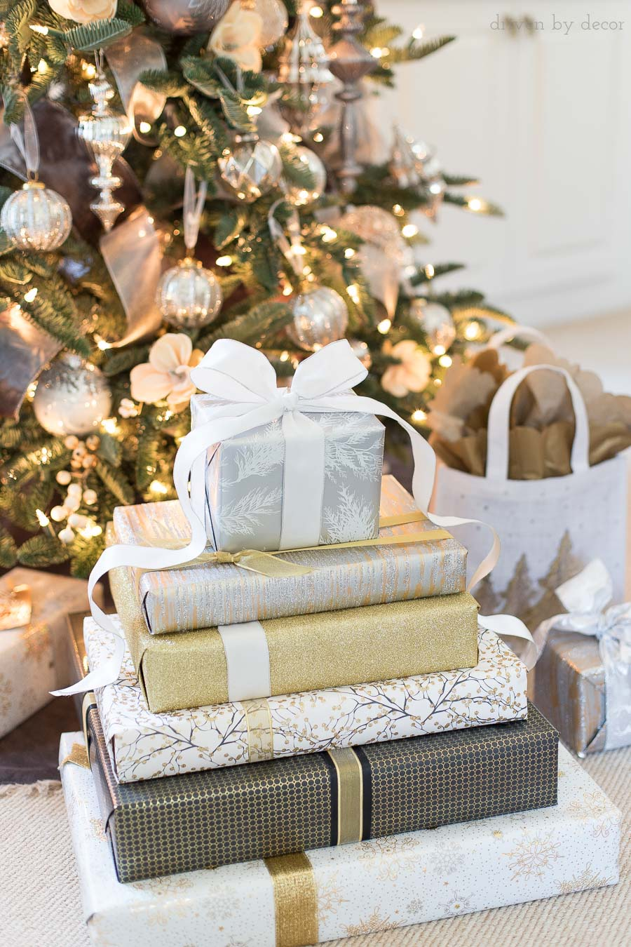 Loving the gold and silver metallics gift wrap and ribbon and how it all coordinates so well together!