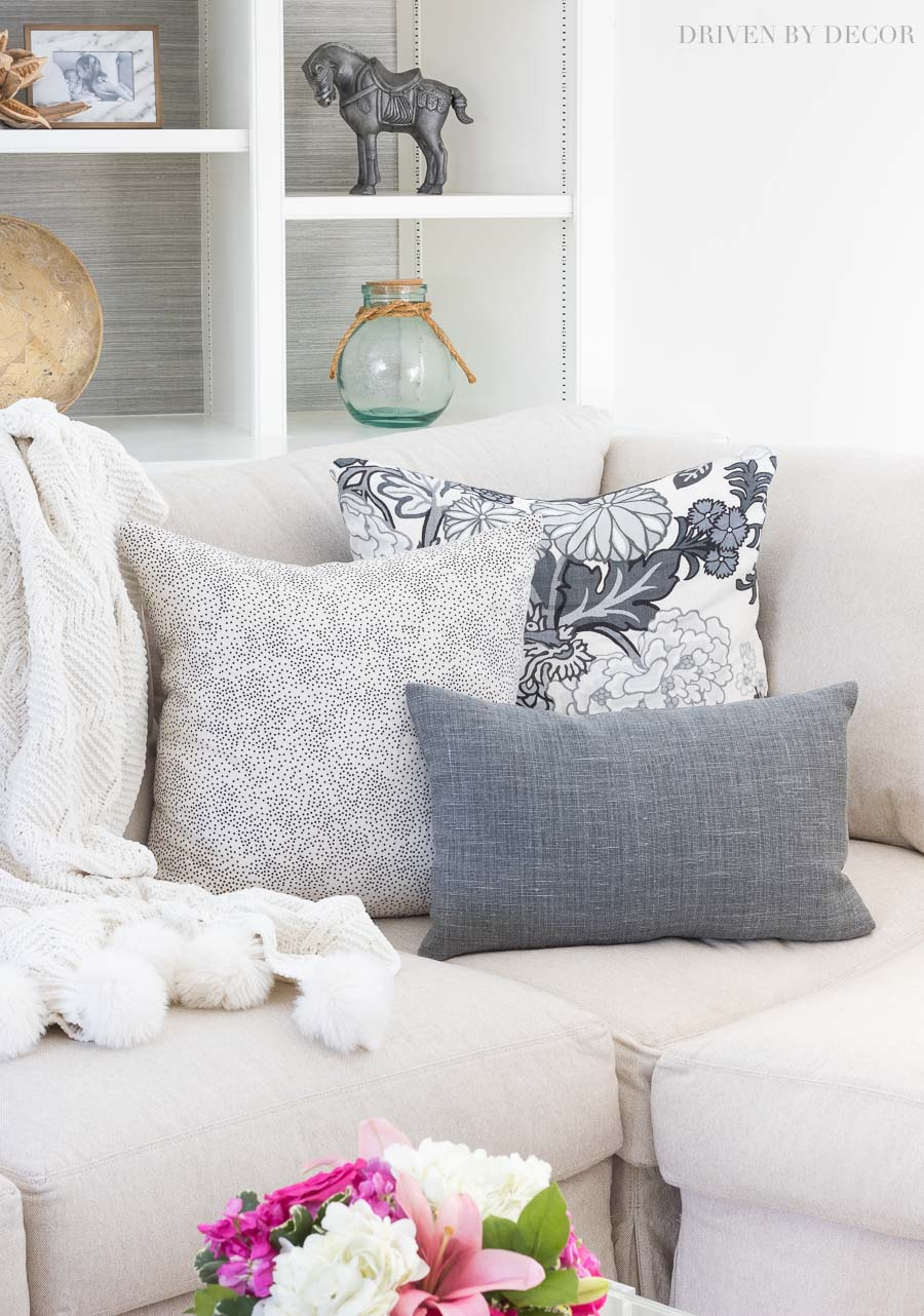The full pillow scoop!! What type and size pillow inserts are best and tips for arranging them on your sofa or sectional!