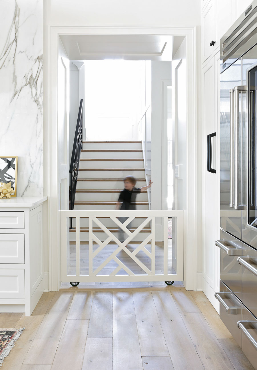 So in love with this built-in rolling baby and pet gate! Design by Lori Paranjape