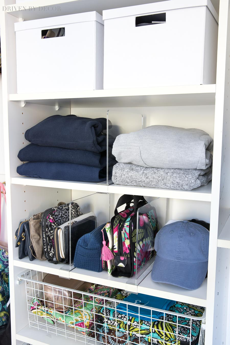 Clear acrylic shelf dividers are the perfect, simple way to organize and keep everything in place in your closet!