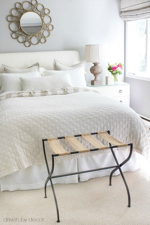 Take a tour of our guest bedroom decorated in neutrals! Links to bedding and other furniture and accessories included in post!