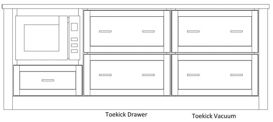 Layout of kitchen island with microwave drawers, deep storage drawers, and toekick storage and vacuum