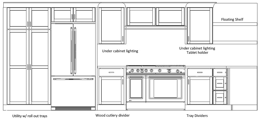 Kitchen cabinet plans with pantry, refrigerator, and range.