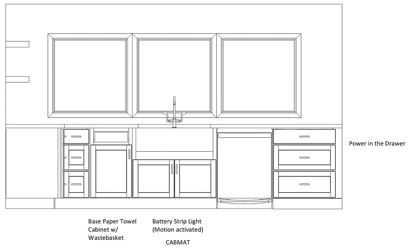 Kitchen cabinet layout with sink, trash can, & dishwasher