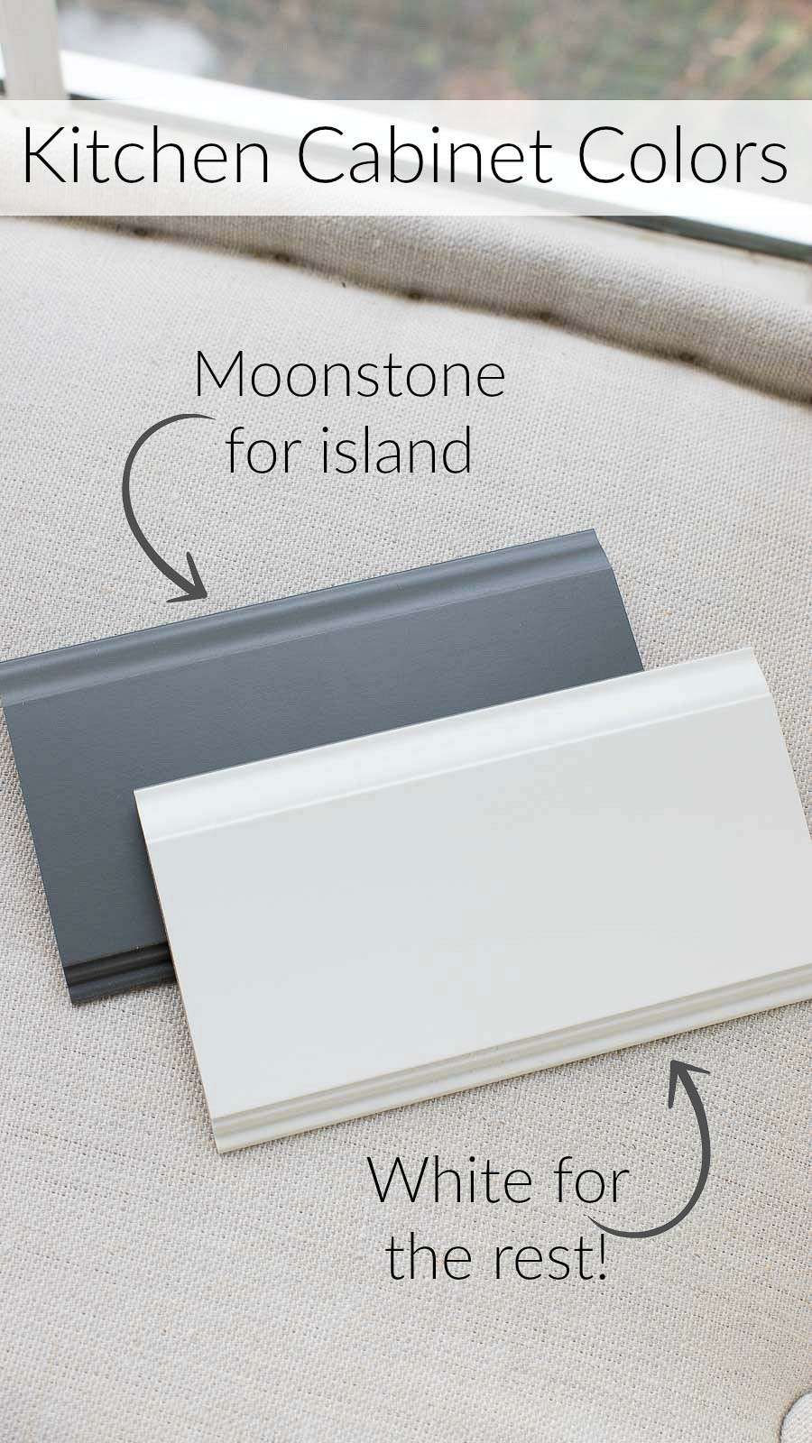 Love these kitchen cabinet paint colors!! Moonstone for island and White for the rest (Masterbrand Diamond cabinets)