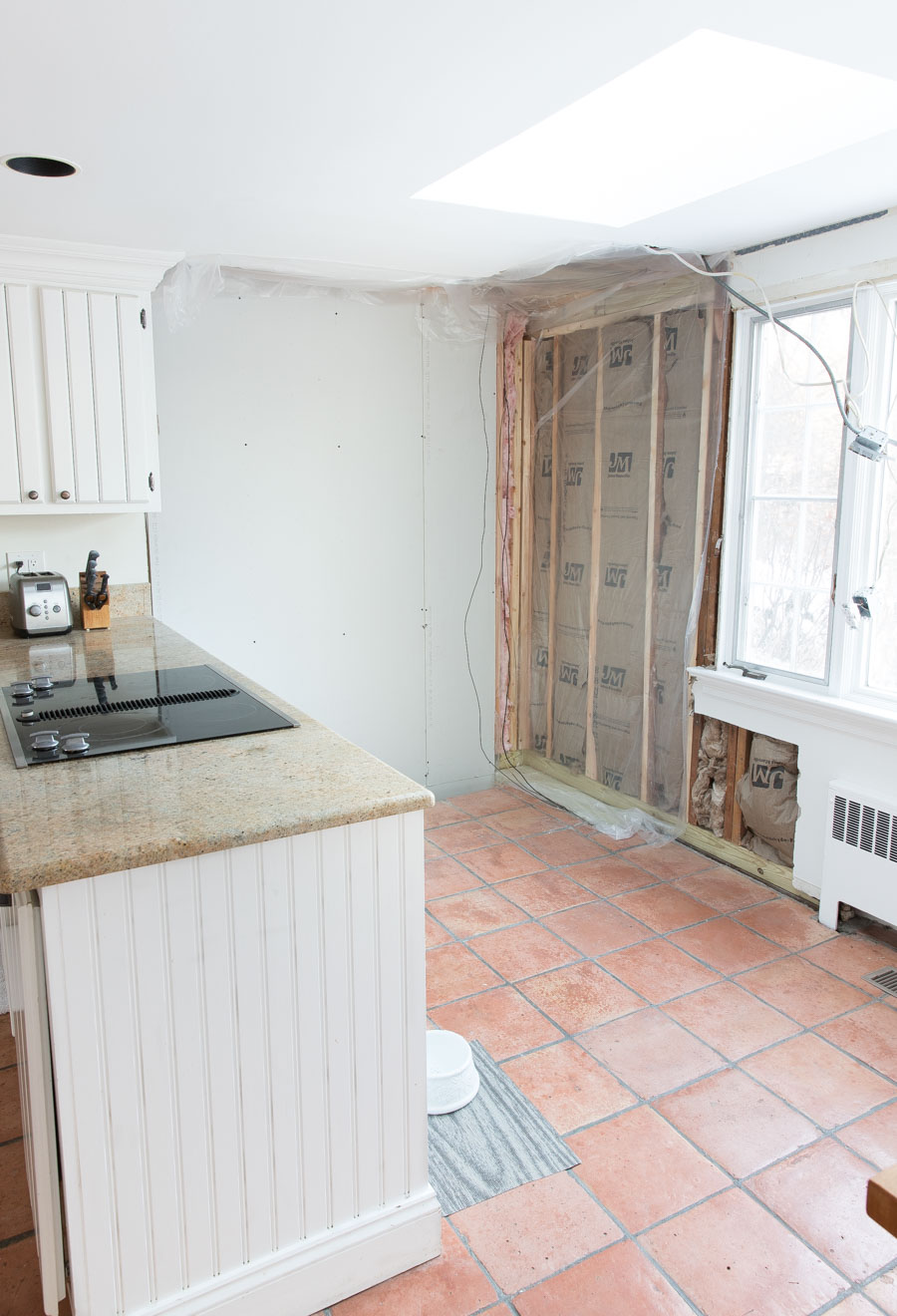 The first step of our kitchen renovation with fireplace removal