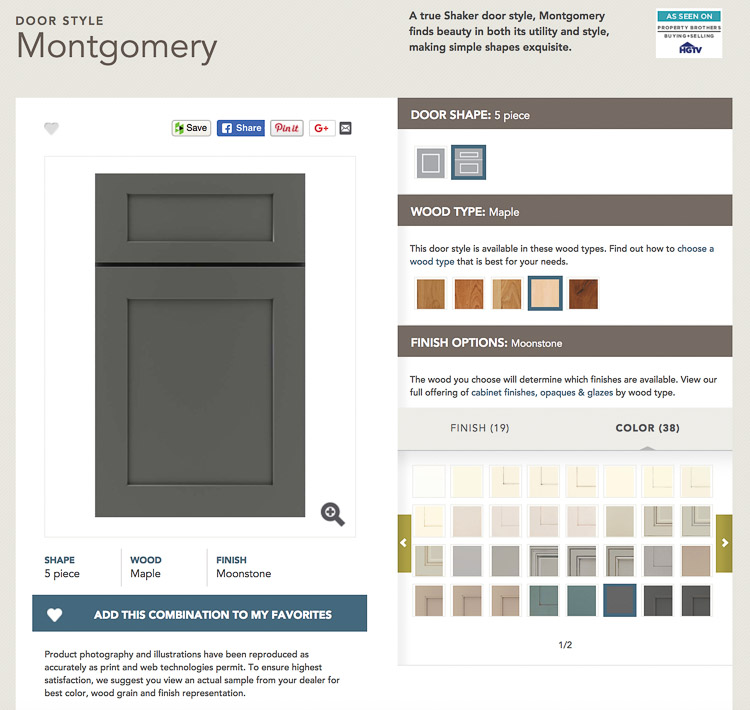 Masterbrand Diamond Cabinets - cabinet visualizer where you can see what the door style, wood type, and color or stain finish will look like!
