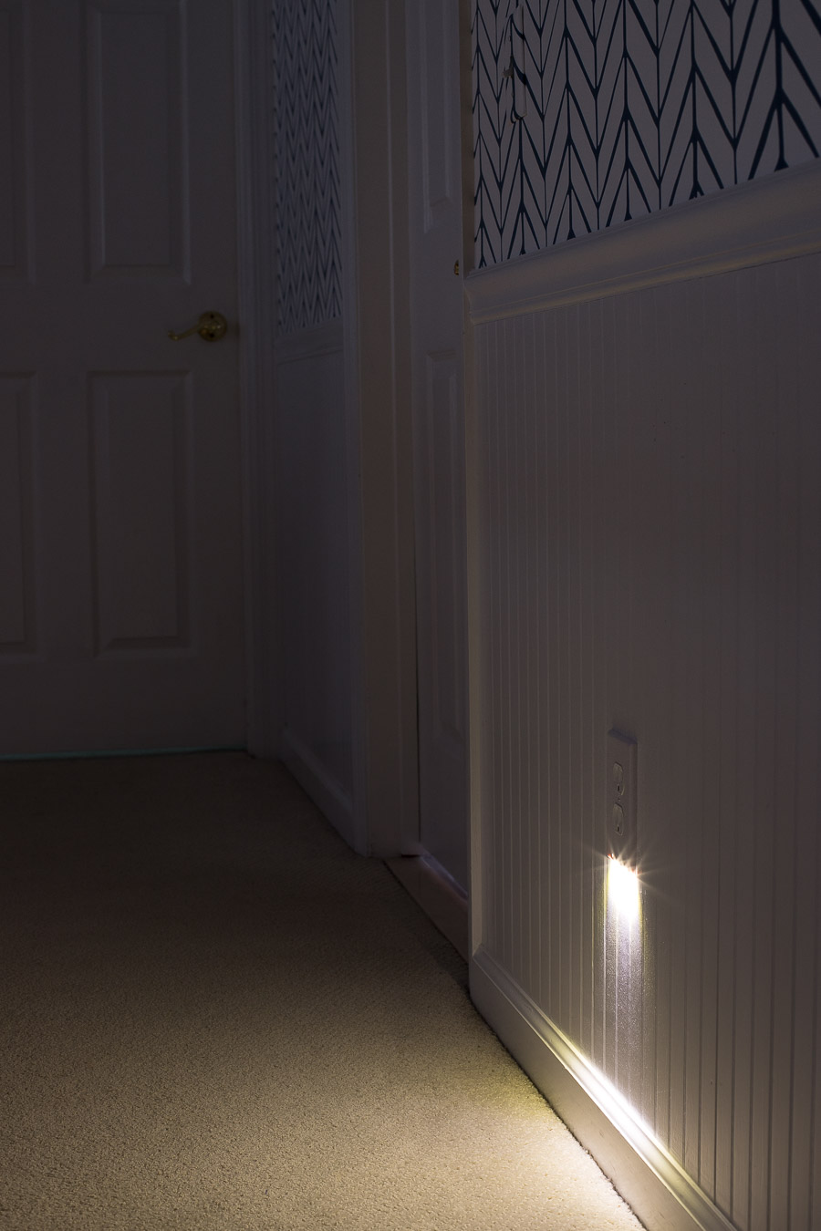 The perfect way to light your hallway with a nightlight without using any outlets! Great for bathrooms too and simple to install!