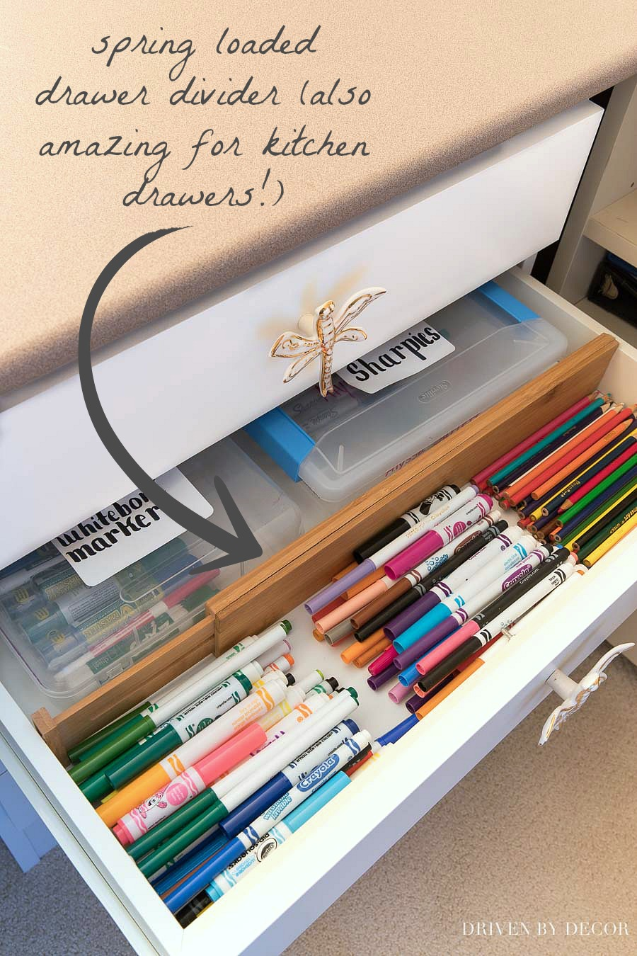 Spring loaded drawer dividers are perfect for drawers in your kitchen, bedroom, craft room, or just about anywhere!!! Such a great way to organize!