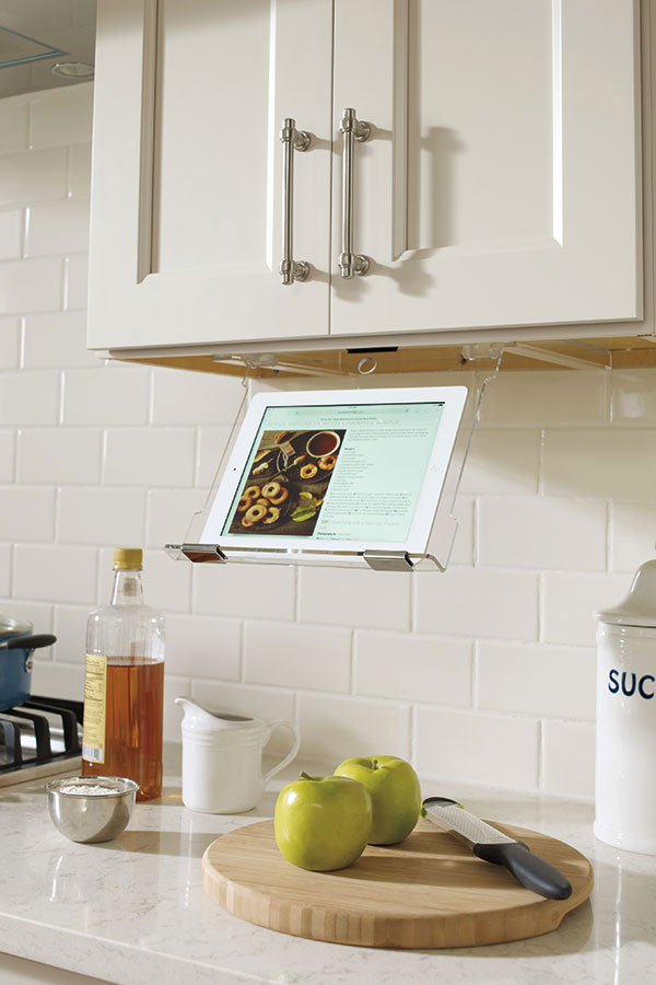 This IPad Holder Thatu0027s Stored Under The Cabinet Is Perfect For When Youu0027re  Cooking