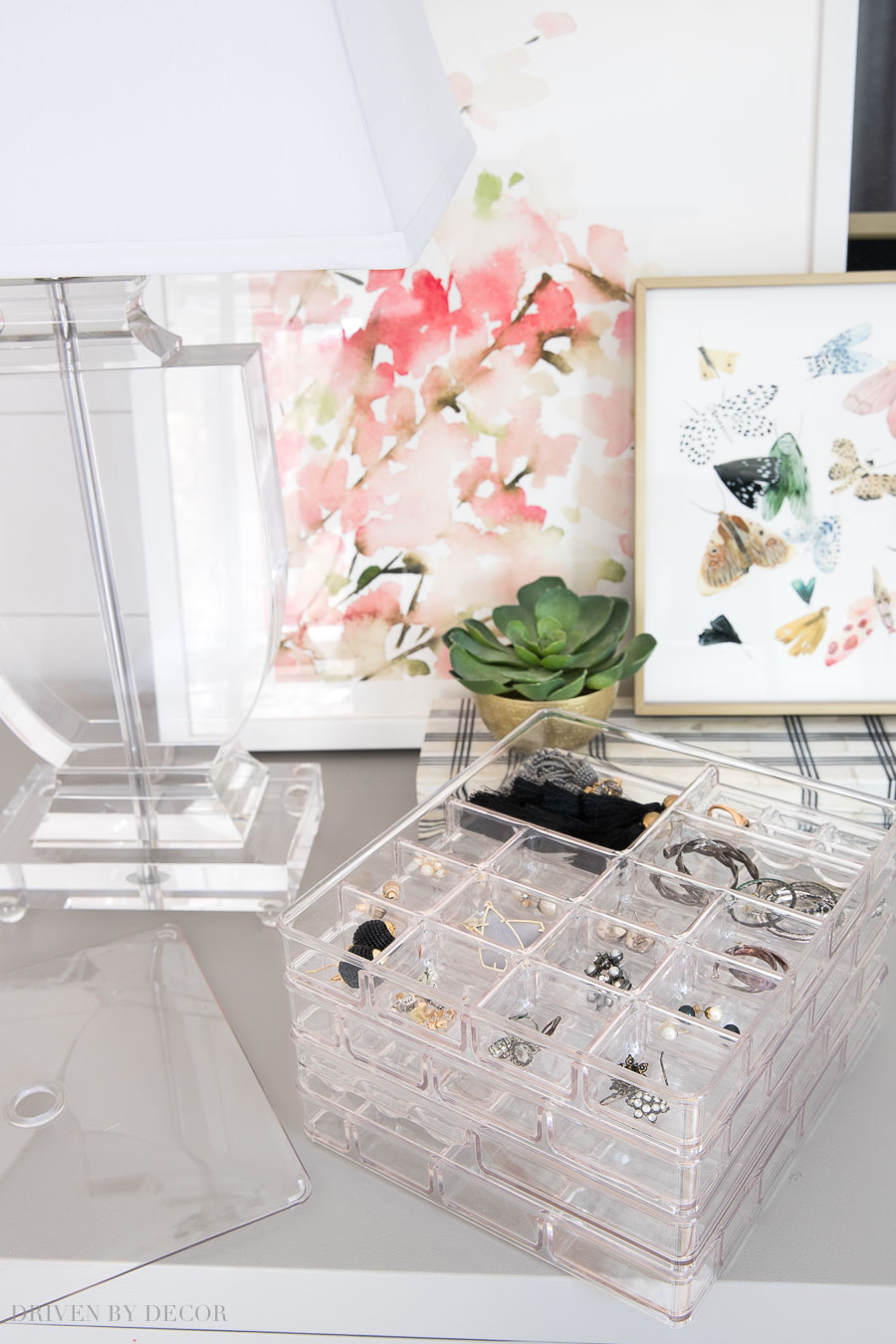Acrylic stacked jewelry organizer - perfect for storing earrings, rings, and more!