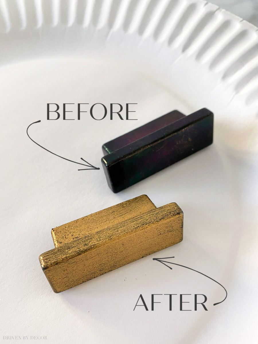 A super simple way to change the finish on metal knobs and other home decor pieces!