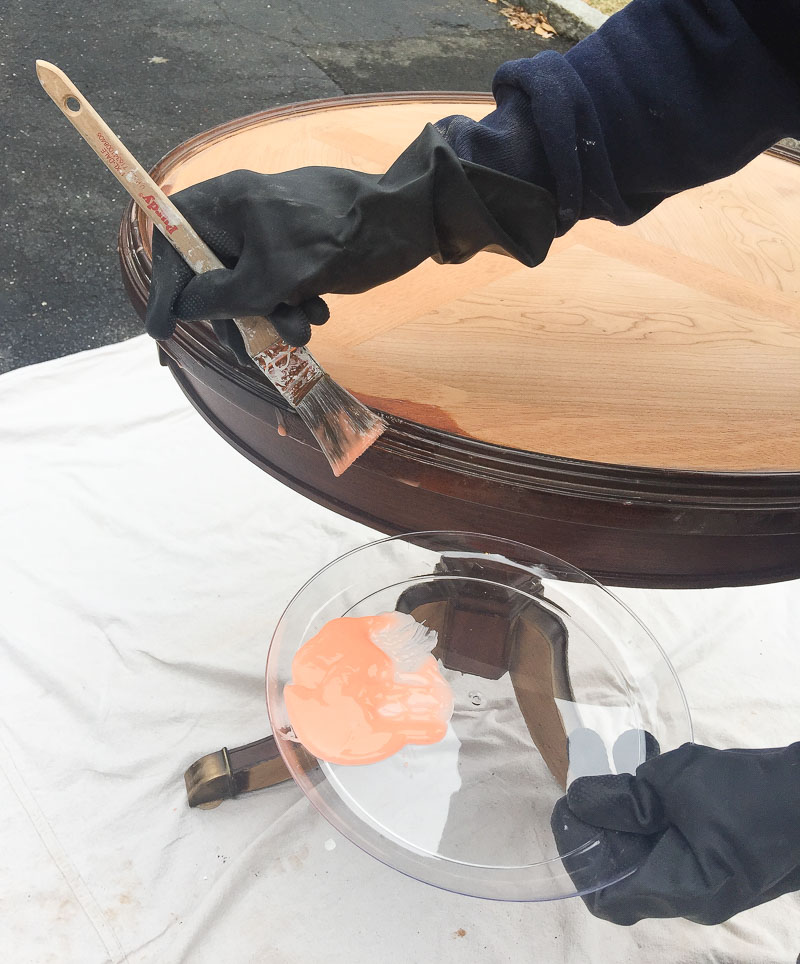 Stripping gel works amazingly to strip old furniture down to the wood!