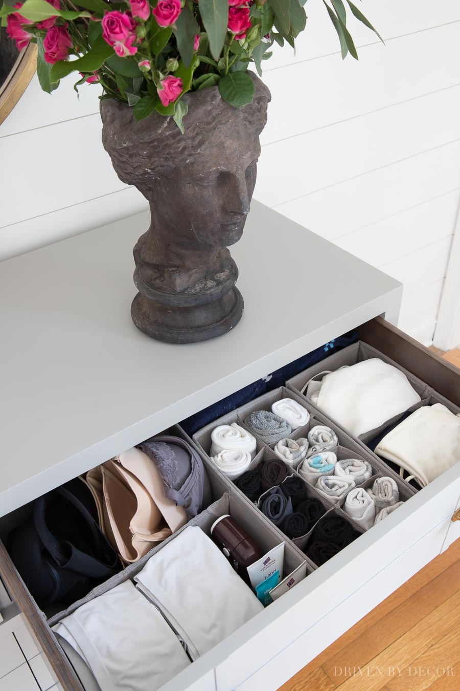 These fabric drawer dividers and organizers (for organizing socks, bras, & more) are awesome!