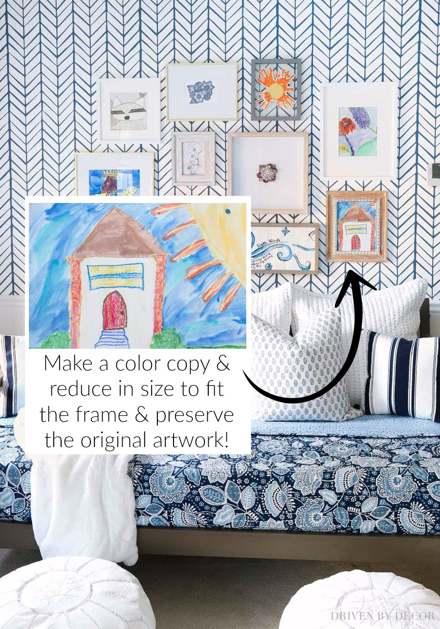 Great tips and ideas for using your child's artwork to create an inexpensive gallery wall!