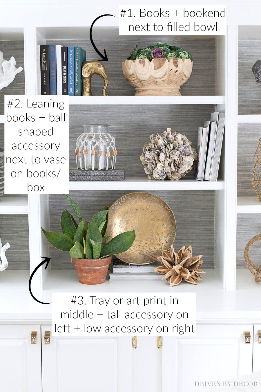 Simple formulas for decorating your shelves - SO helpful!!