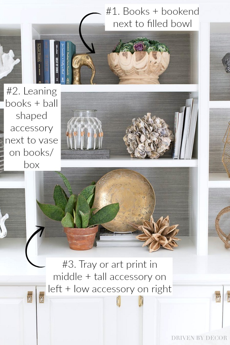 Great post with formulas for how to style your shelves beautifully! So easy!