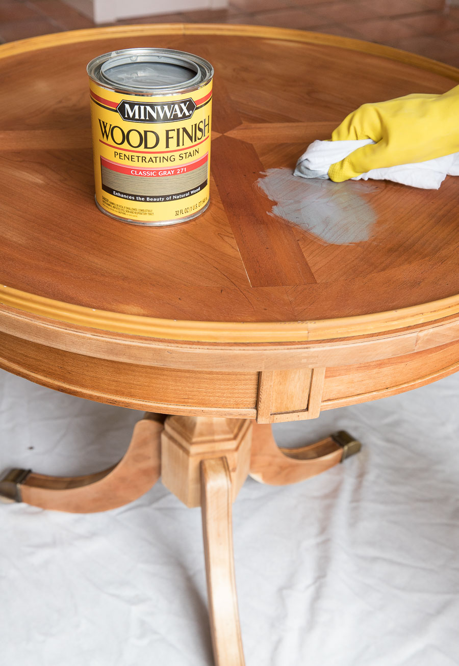 Minwax Classic Gray stain applied on a red oak table - love the final result!!