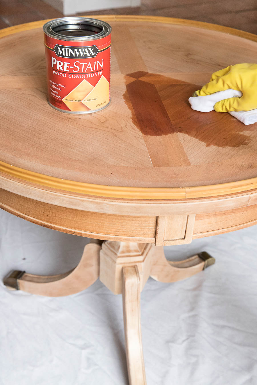 The must-do step to prevent streaking and blotching when you stain a table or other furniture - using Minwax Pre-stain Conditioner