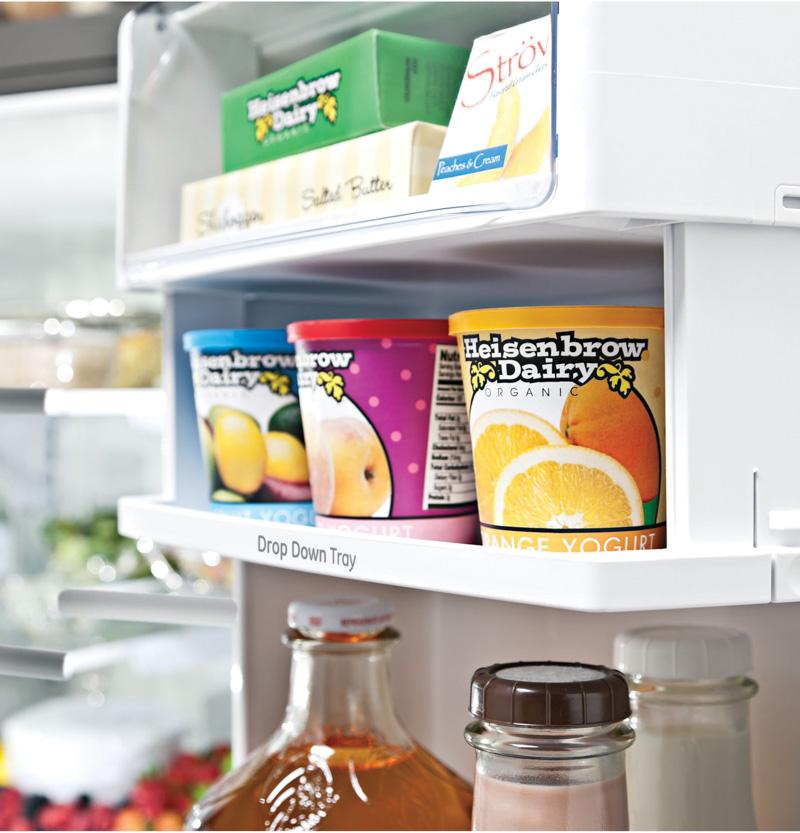 Awesome refrigerator feature - drop down tray in door of Monogram refrigerator. So smart!