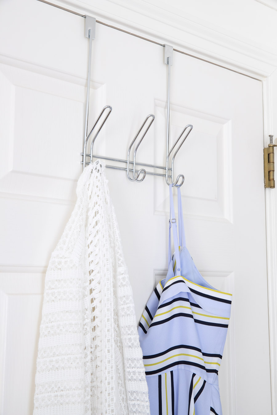 Simple over the door hooks for robes, towels, or hanging your clothes at the end of the day!