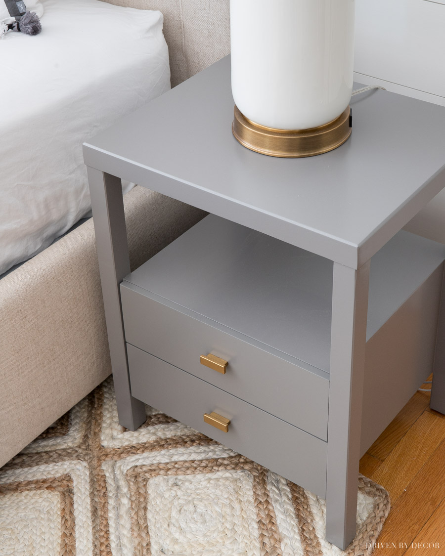 Love these gray nightstands and they're such a great price!
