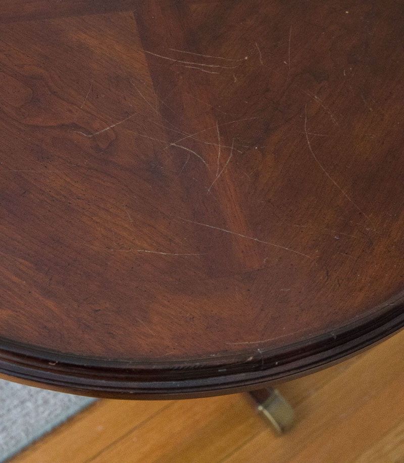 """The """"before"""" - scratches on table to fix with refinishing"""