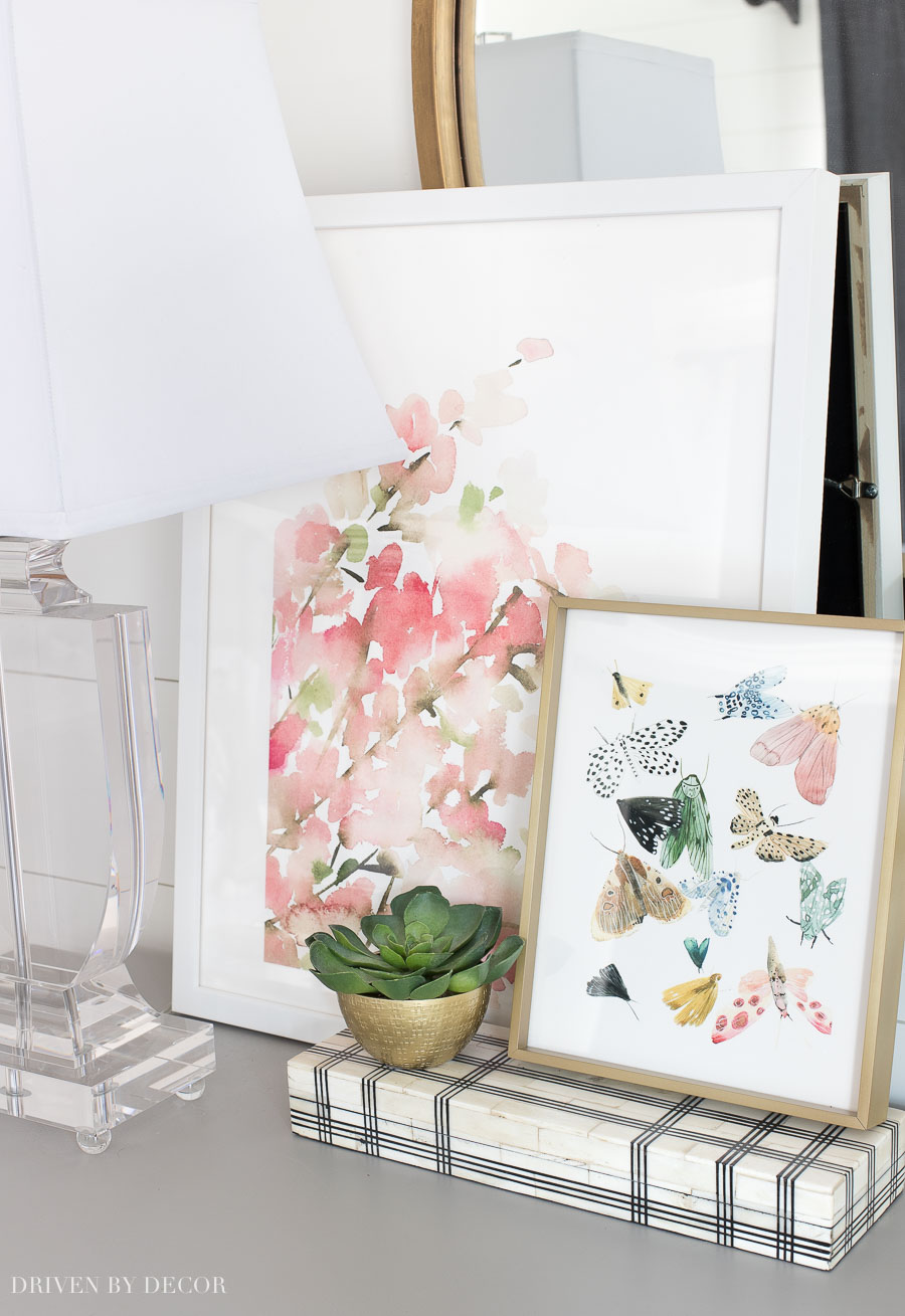 Such pretty art prints - perfect for spring! Post includes direct links to both prints (pink blossoms and butterflies)!