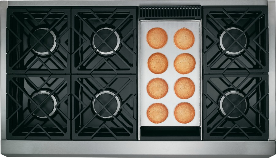 "48"" Monogram range with six burners and griddle (that can also be replaced with a grill!)"