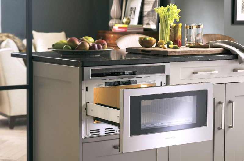 Monogram microwave drawer - perfect for a kitchen island!