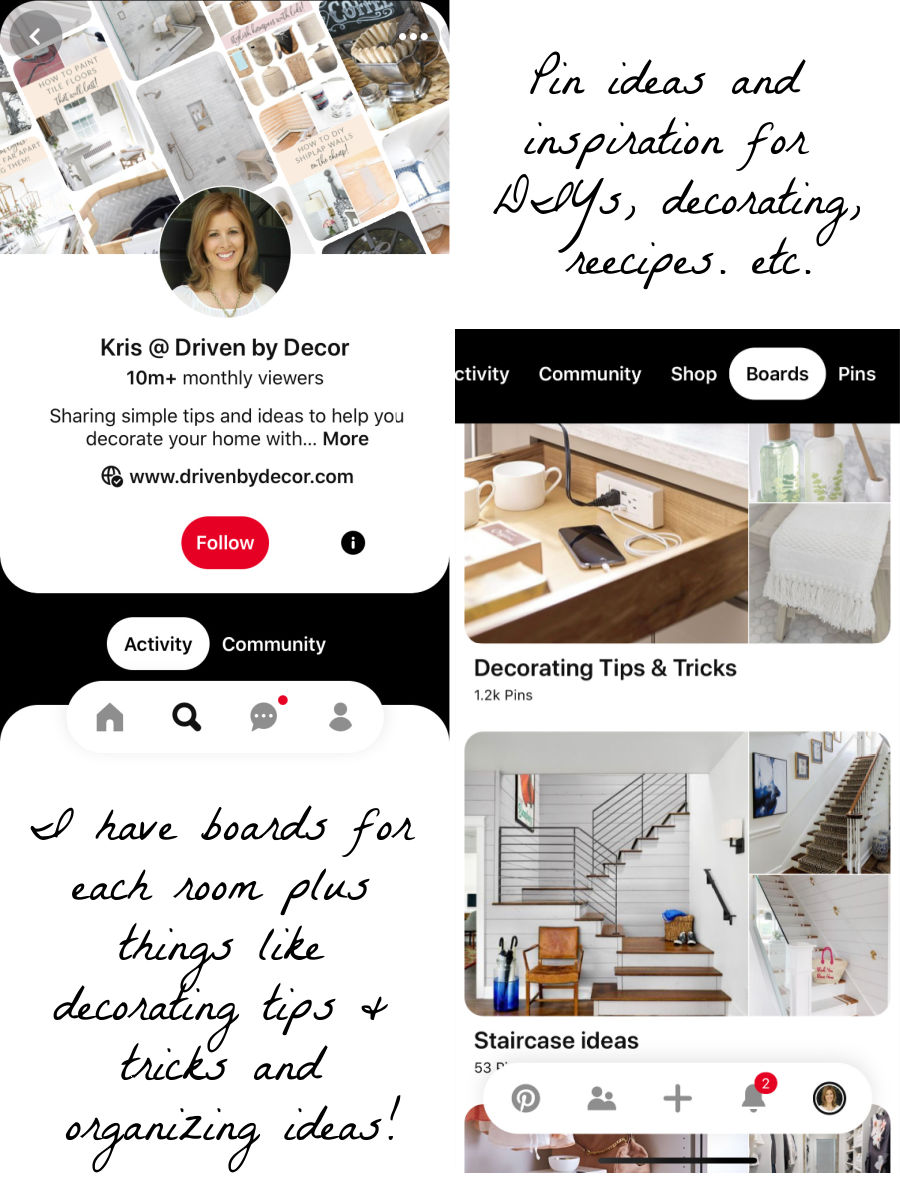 The Pinterest app is one of my favorites!