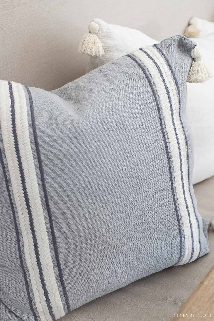 Gorgeous striped tassel end pillow covers in the prettiest shade of blue/gray - loving these for spring!