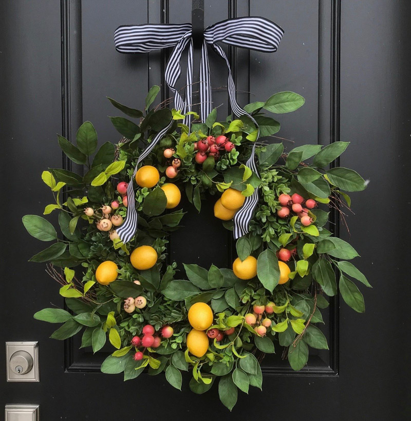 Gorgeous spring front door wreath with faux lemons and crabapples - love!