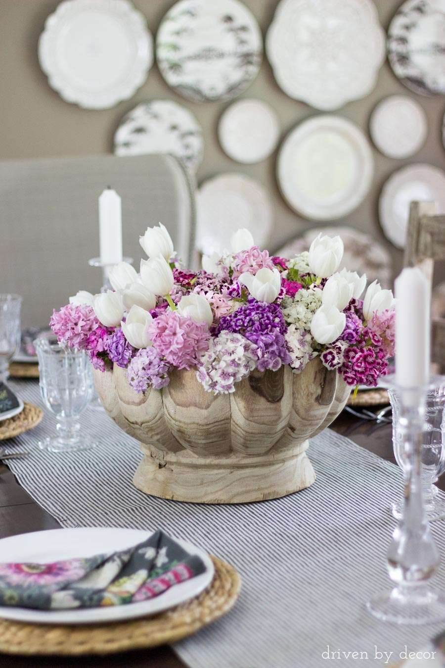Gorgeous wood bowl as a table centerpiece