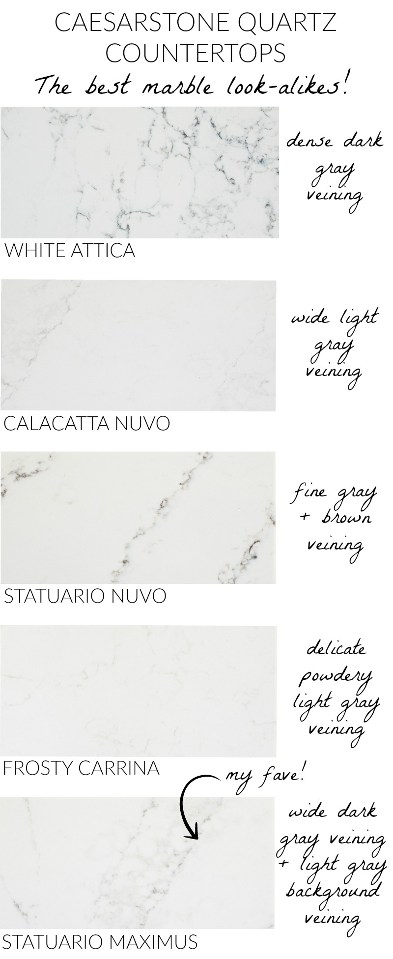 Love these Caesarstone countertops that have the durability of quartz but look like marble!