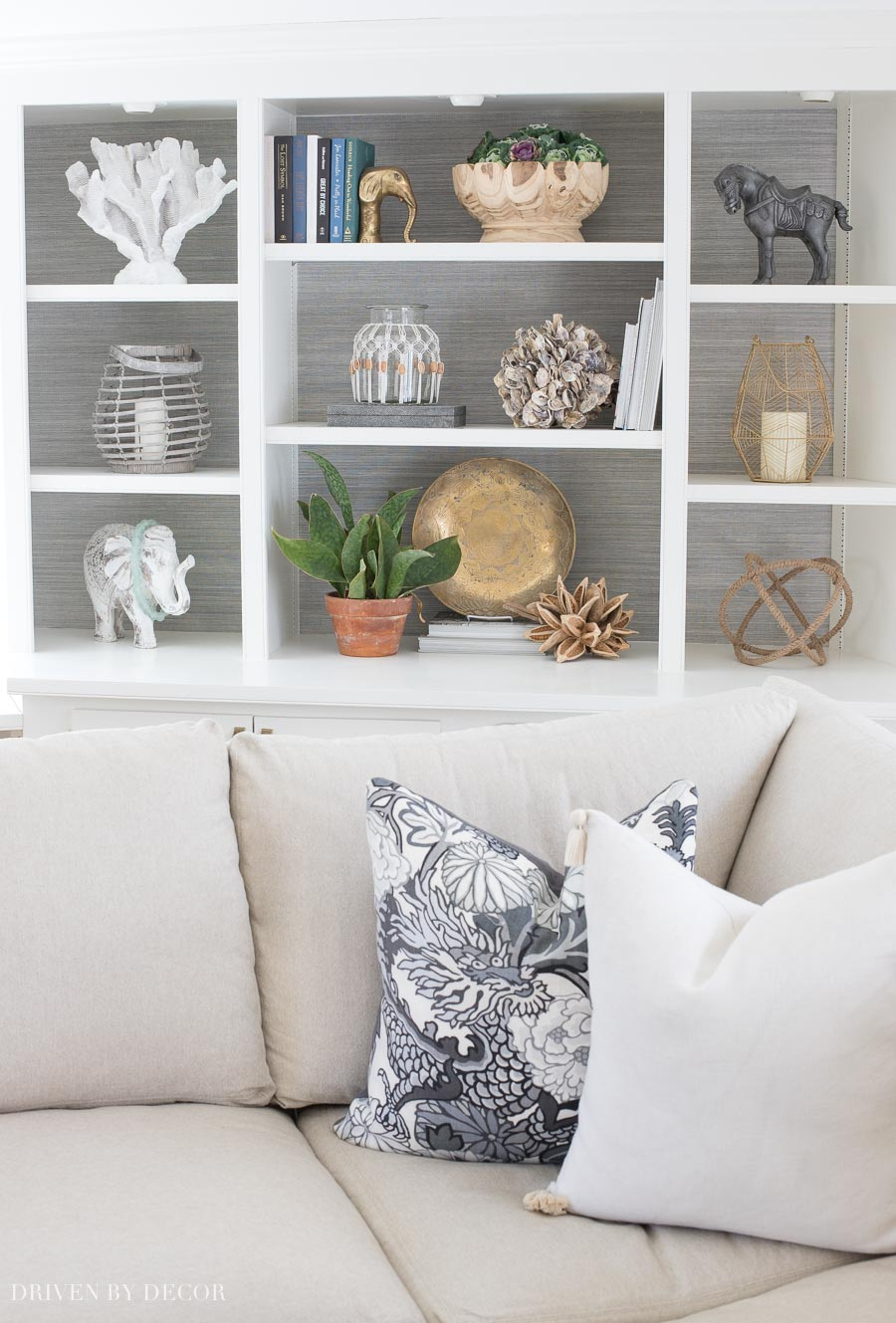 Loving these ideas for spring bookcase styling (those lanterns - love!)
