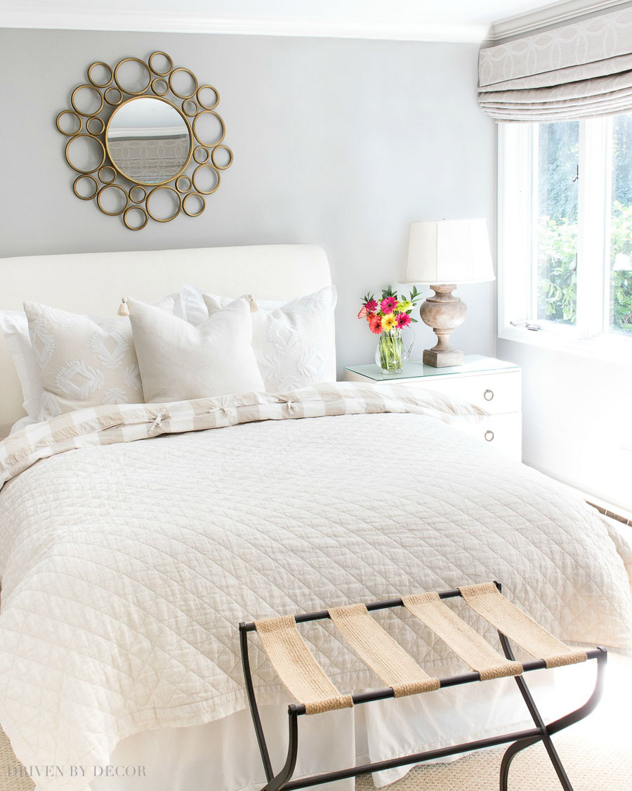 Love the look of a round mirror above a bed - lots of gorgeous round mirrors linked in this post!