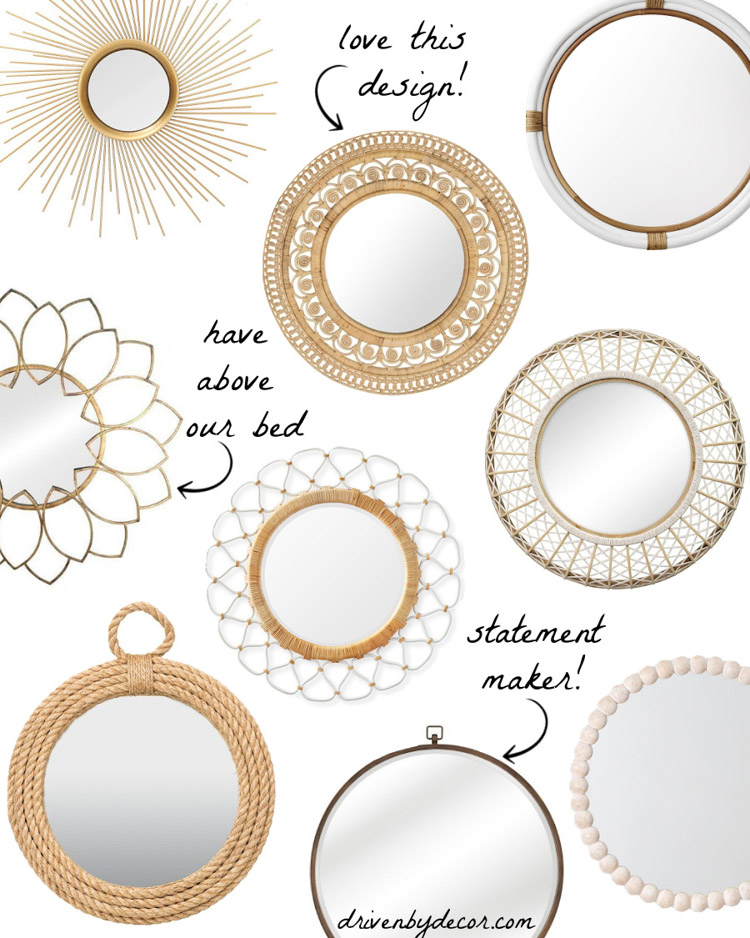 Such a great round mirror round-up! Pretty wood, rattan, and brass options!
