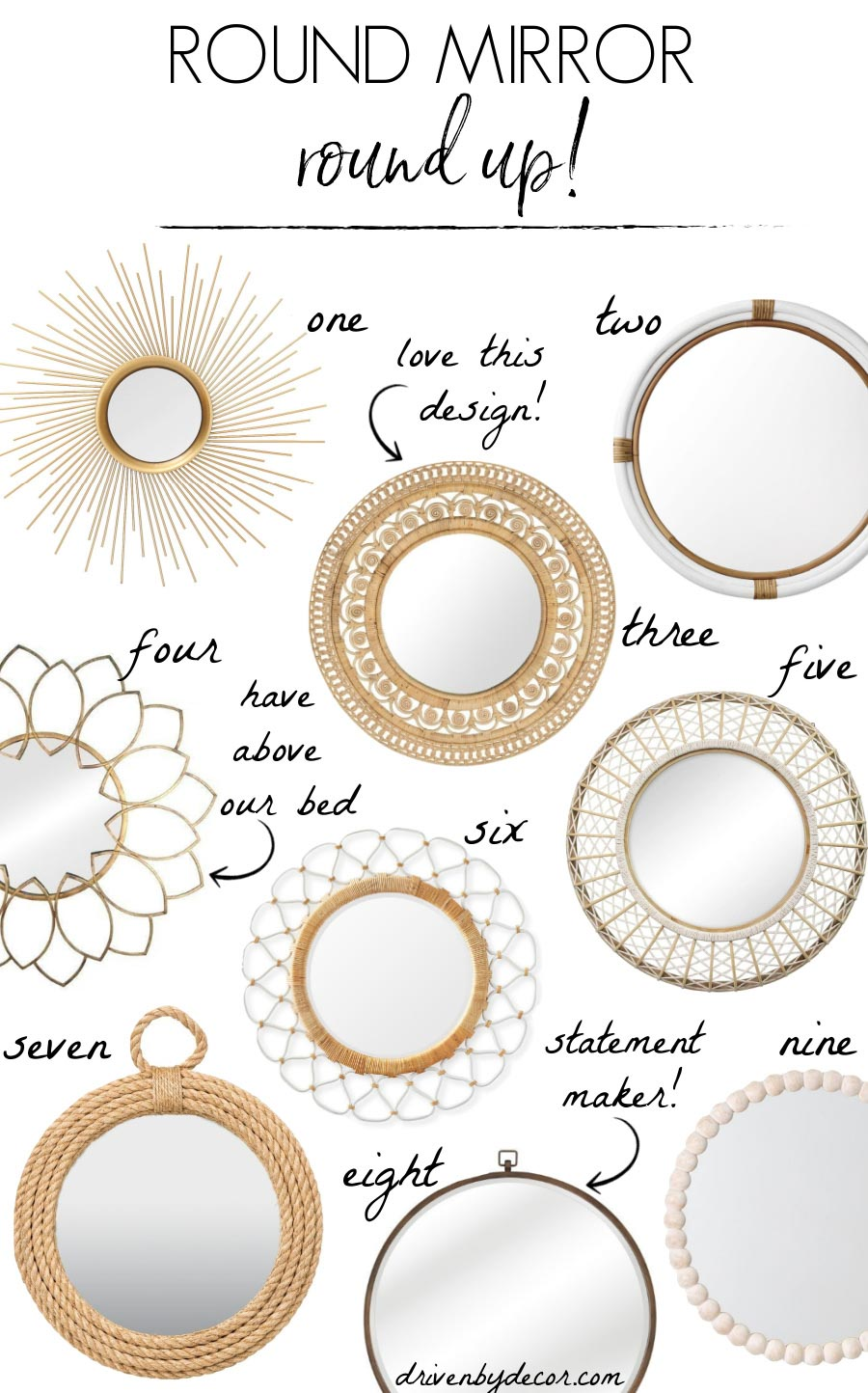 LOVE all of these round mirrors - wood mirrors, brass, rattan, and more!