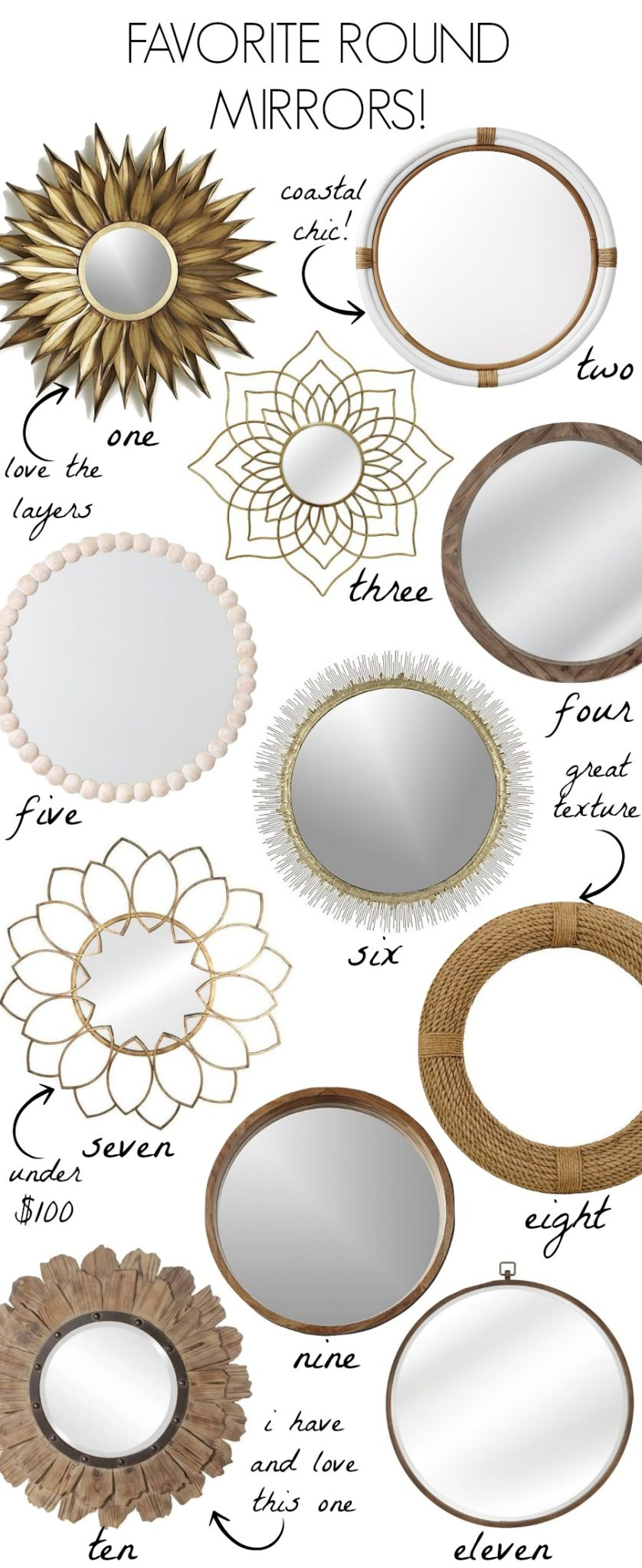 Loving these gorgeous round mirrors! Large round mirrors, wood mirrors, gold mirrors... so many beautiful options!