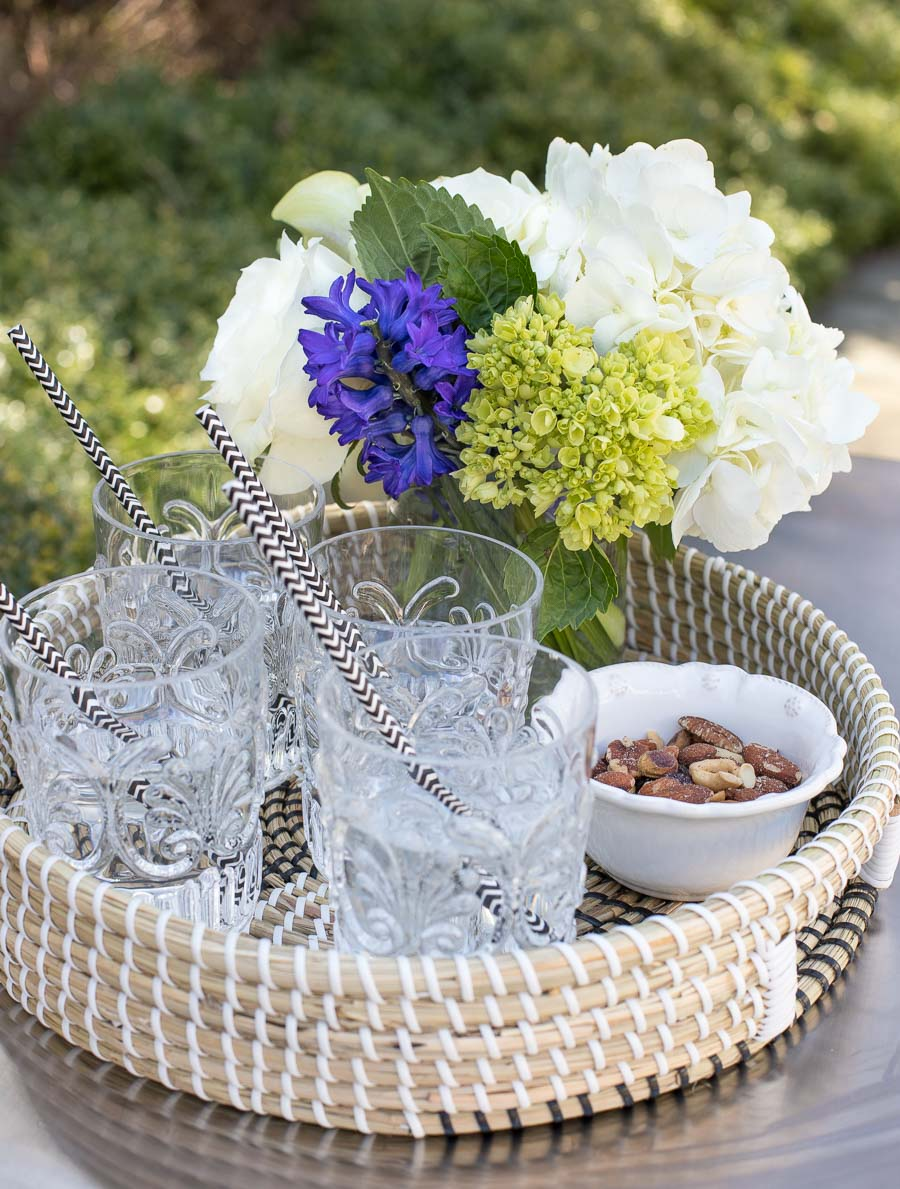 The perfect tray for drinks and snacks when entertaining for summer!