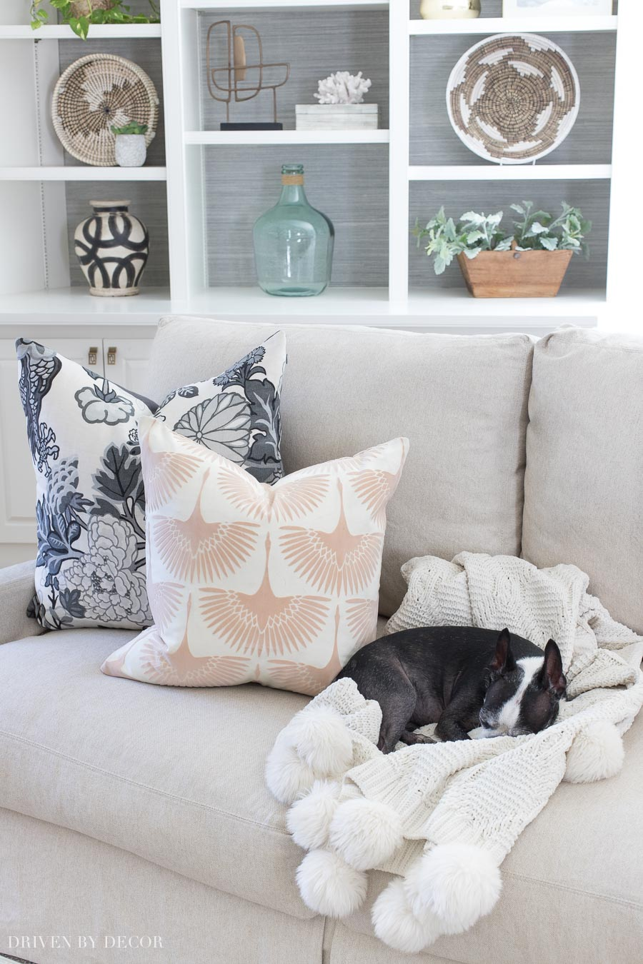 The prettiest blush velvet pillows! Love how the look with the grays! Linked in post!