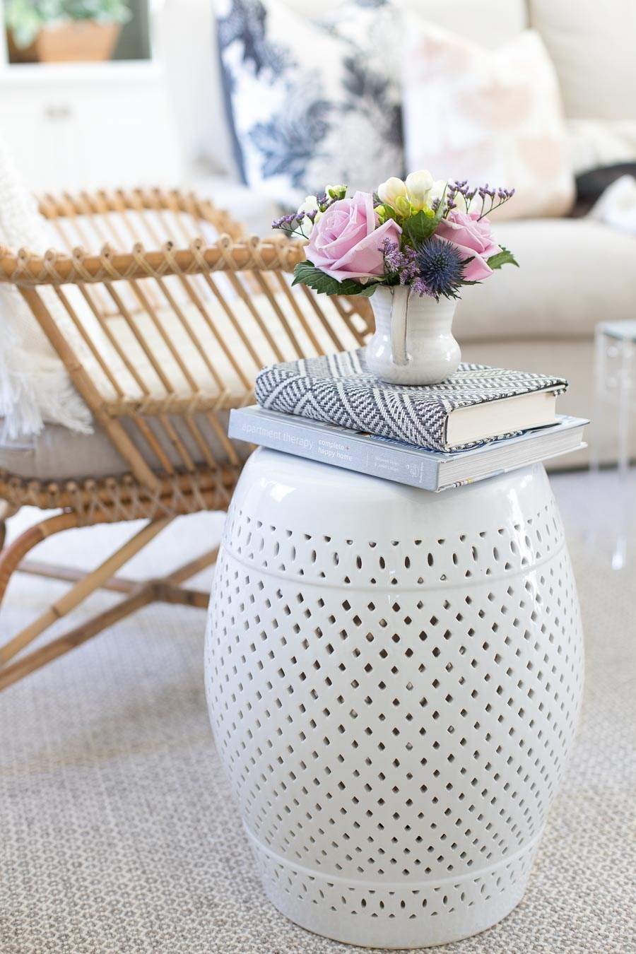 The prettiest white garden stool - I love this as a living room side table!